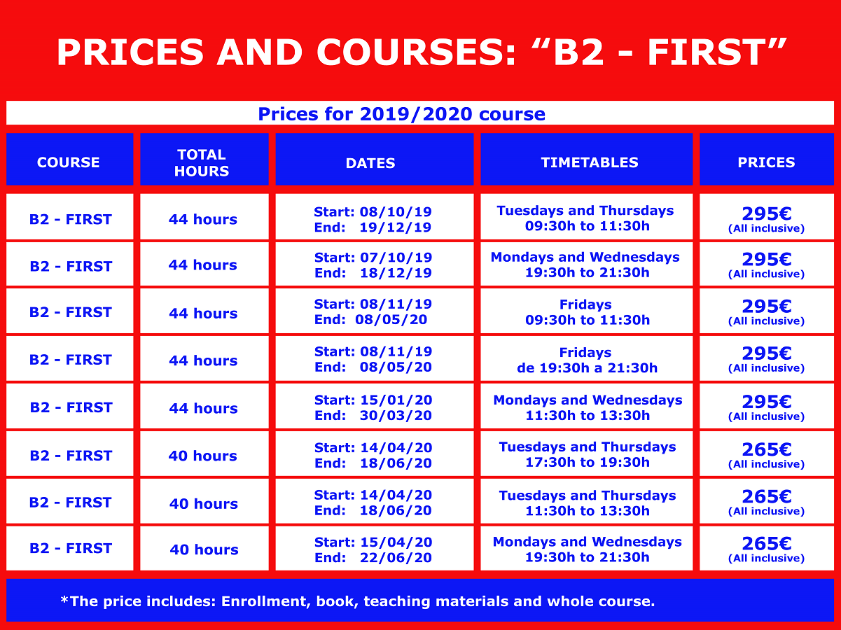 Price and course B2 english